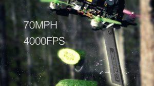 Drohne mit Messern zerschneidet Früchte bei 110 km/h