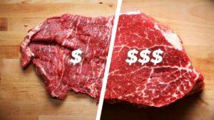Der billiges gegen teures Steak Vergleich