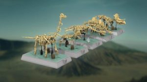 reconstructed dinosaur skeletons from Lego