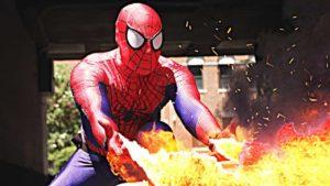 Spider-Mans trimmad power spruta vid handlederna