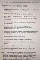 Regeln für Lehrerinnen 1915 in Zürich