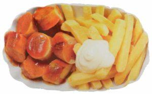 Currywurst-Pommes Kissen