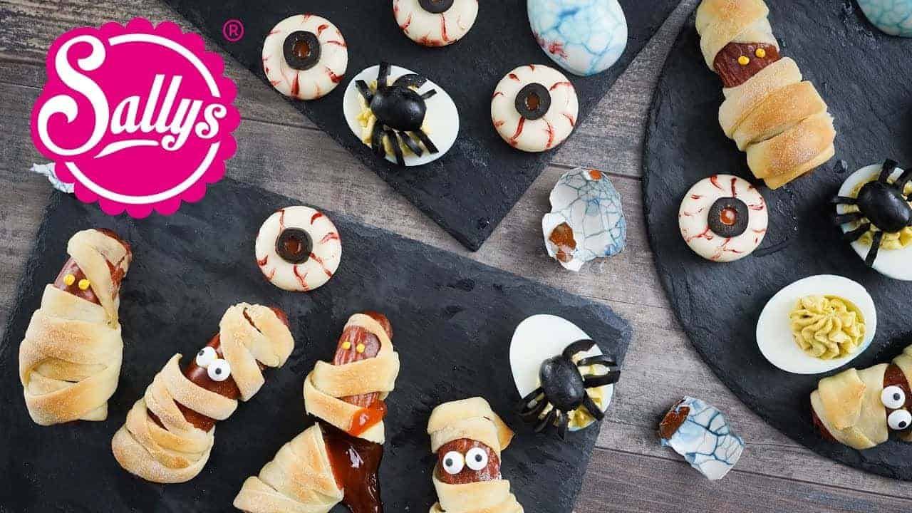 halloween snack ideen spinneneier mummies and scary eyes. Black Bedroom Furniture Sets. Home Design Ideas