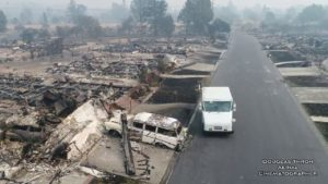 Postapocalyptische schoten na branden in Californië