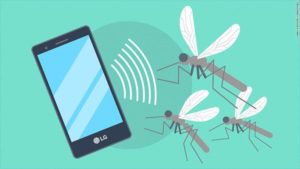 a smartphone, the mosquitoes chased