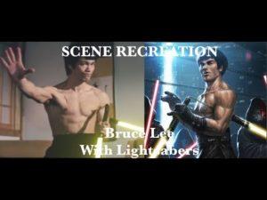 Bruce Lee kämpft mit Lichtschwert-Nunchakus