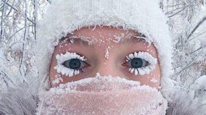 Selfie at negative temperature record of -68 ° C