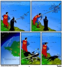 Batman und Superman lassen Steine hüpfen